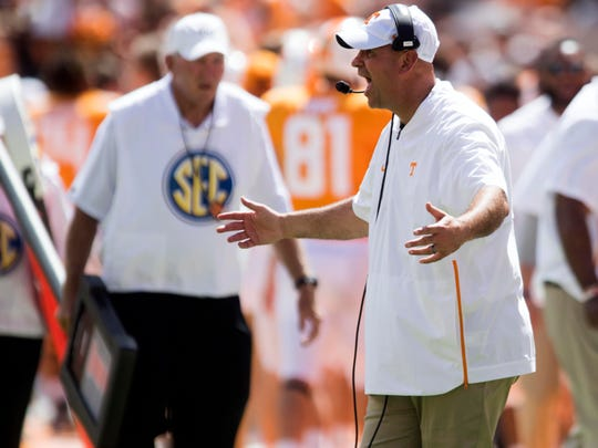 Tennessee Head Coach Jeremy Pruitt during the game against UTEP on Saturday, September 15, 2018.