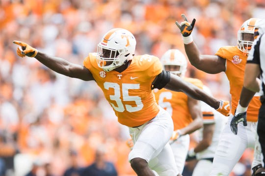 Tennessee linebacker Daniel Bituli (35) celebrate a sack during a game between UT and UTEP in Neyland Stadium Sept. 15, 2018.