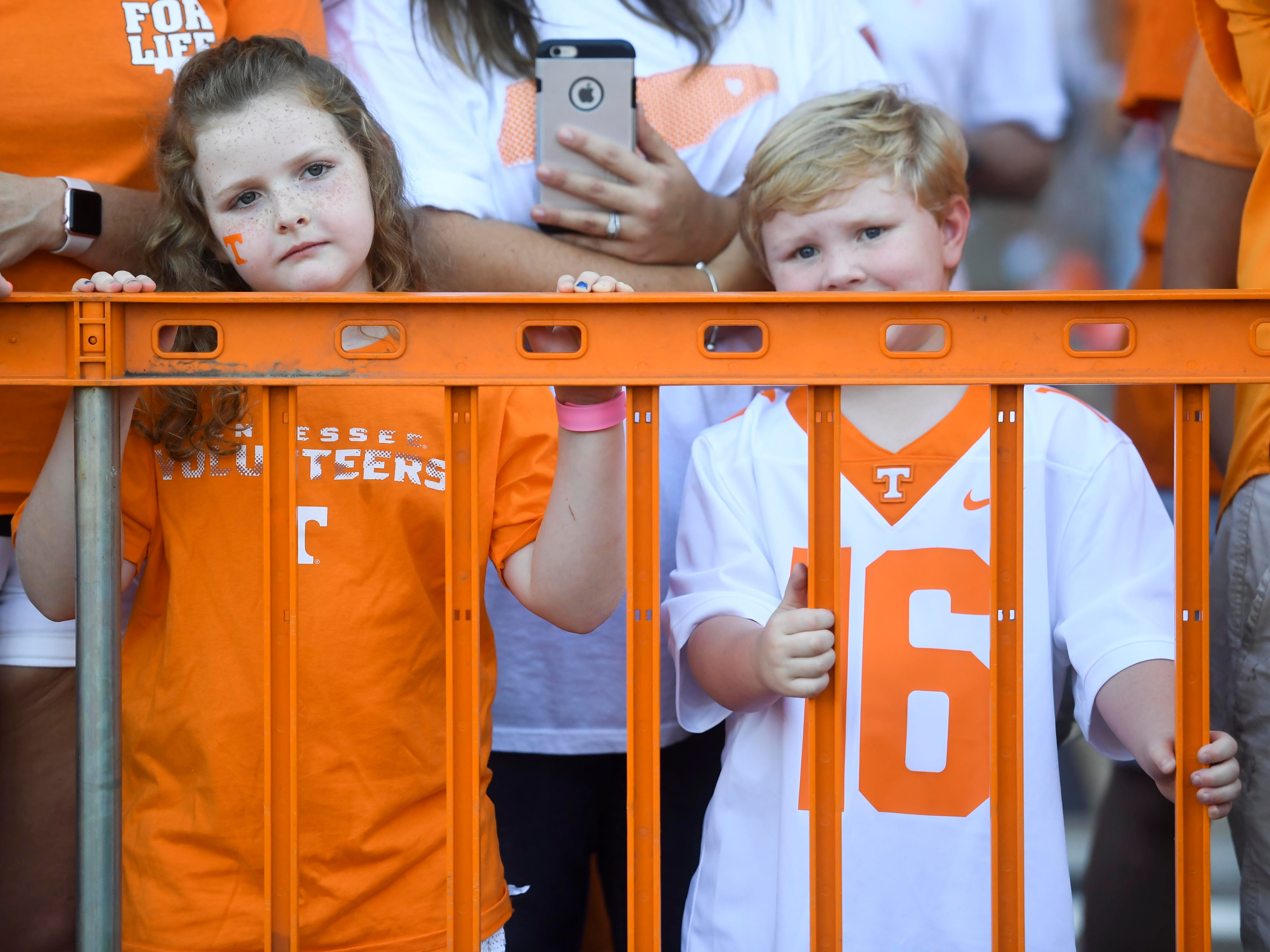 Young Tennessee fans wait to see the Vol Walk before the game against UTEP on Saturday, September 15, 2018.