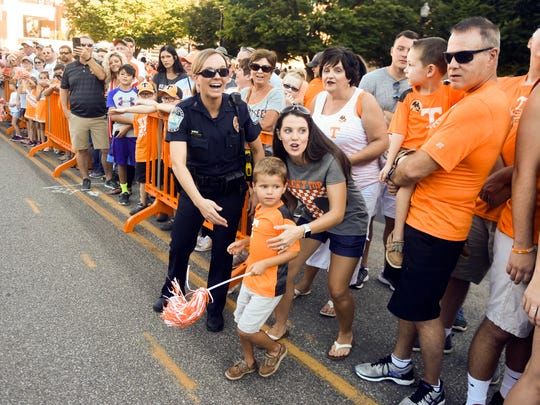 Tennessee fans greet players at the Vol Walk on Saturday, September 15, 2018.