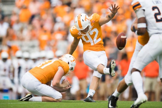 Tennessee placekicker Brent Cimaglia (42) kicks the ball during a game between Tennessee and UTEP at Neyland Stadium in Knoxville, Tennessee on Saturday, September 15, 2018.