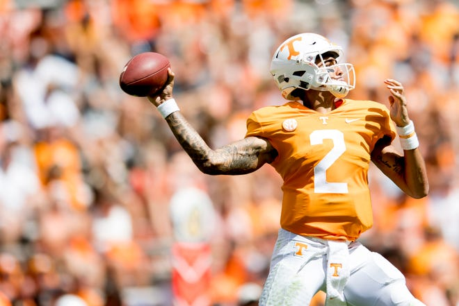 Tennessee quarterback Jarrett Guarantano (2)  throws a pass during a game between Tennessee and UTEP at Neyland Stadium in Knoxville, Tennessee on Saturday, September 15, 2018.