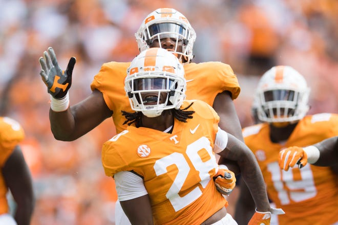 Tennessee defensive back Baylen Buchanan (28) celebrates a play during a game between UT and UTEP in Neyland Stadium Sept. 15, 2018.