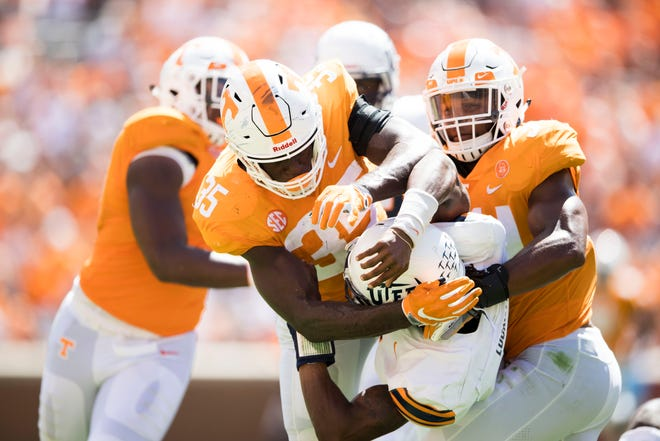 Tennessee linebacker Daniel Bituli (35) takes down a UTEP player during the second half of a game between UT and UTEP in Neyland Stadium Sept. 15, 2018.