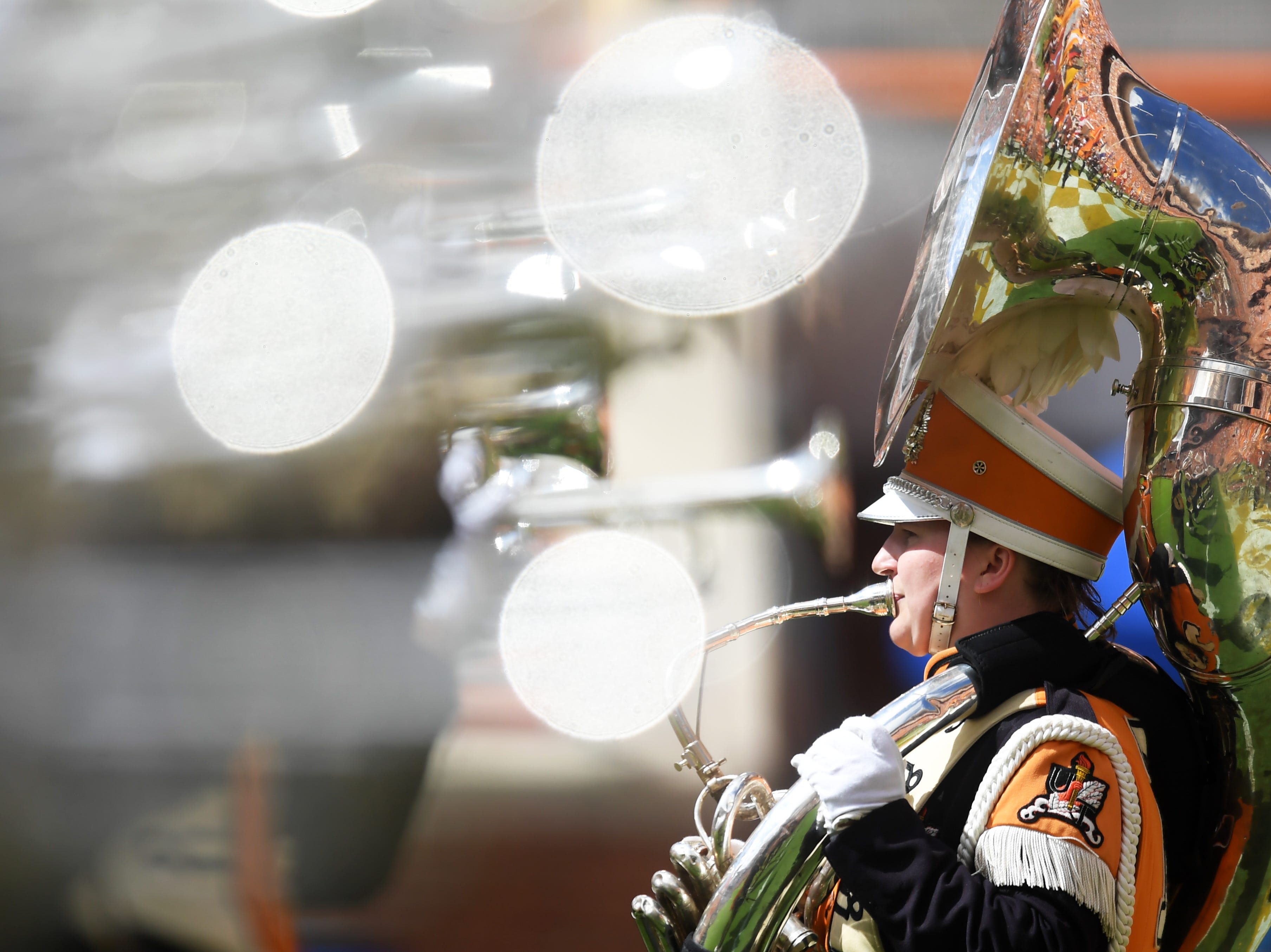 A member of the Pride of the Southland Marching Band plays before a game between UT and UTEP in Neyland Stadium Sept. 15, 2018.