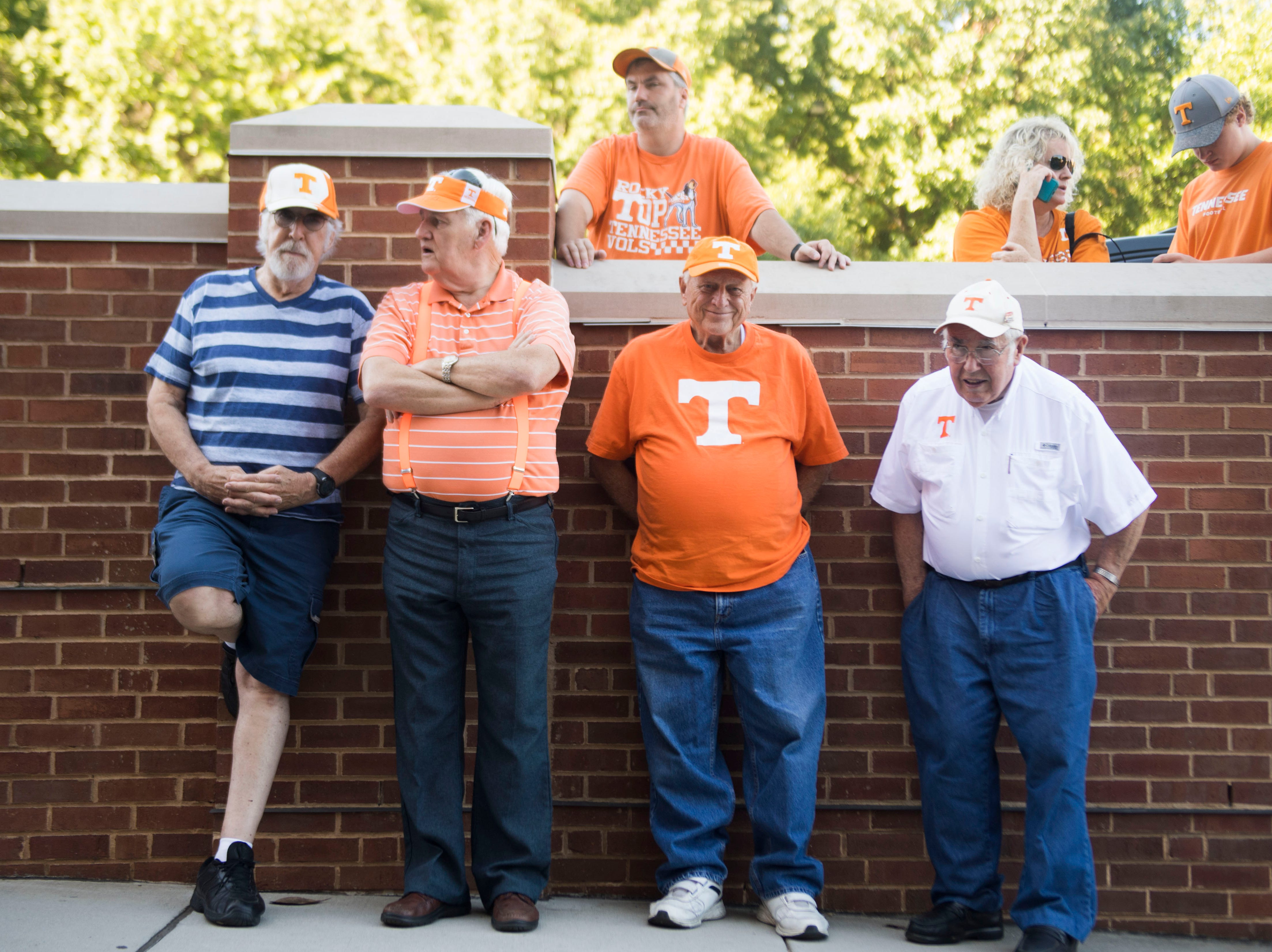 Fans stand after the Vol Walk outside Neyland Stadium before a game between University of Tennessee and the University of Texas at El Paso Saturday, Sept. 15, 2018.
