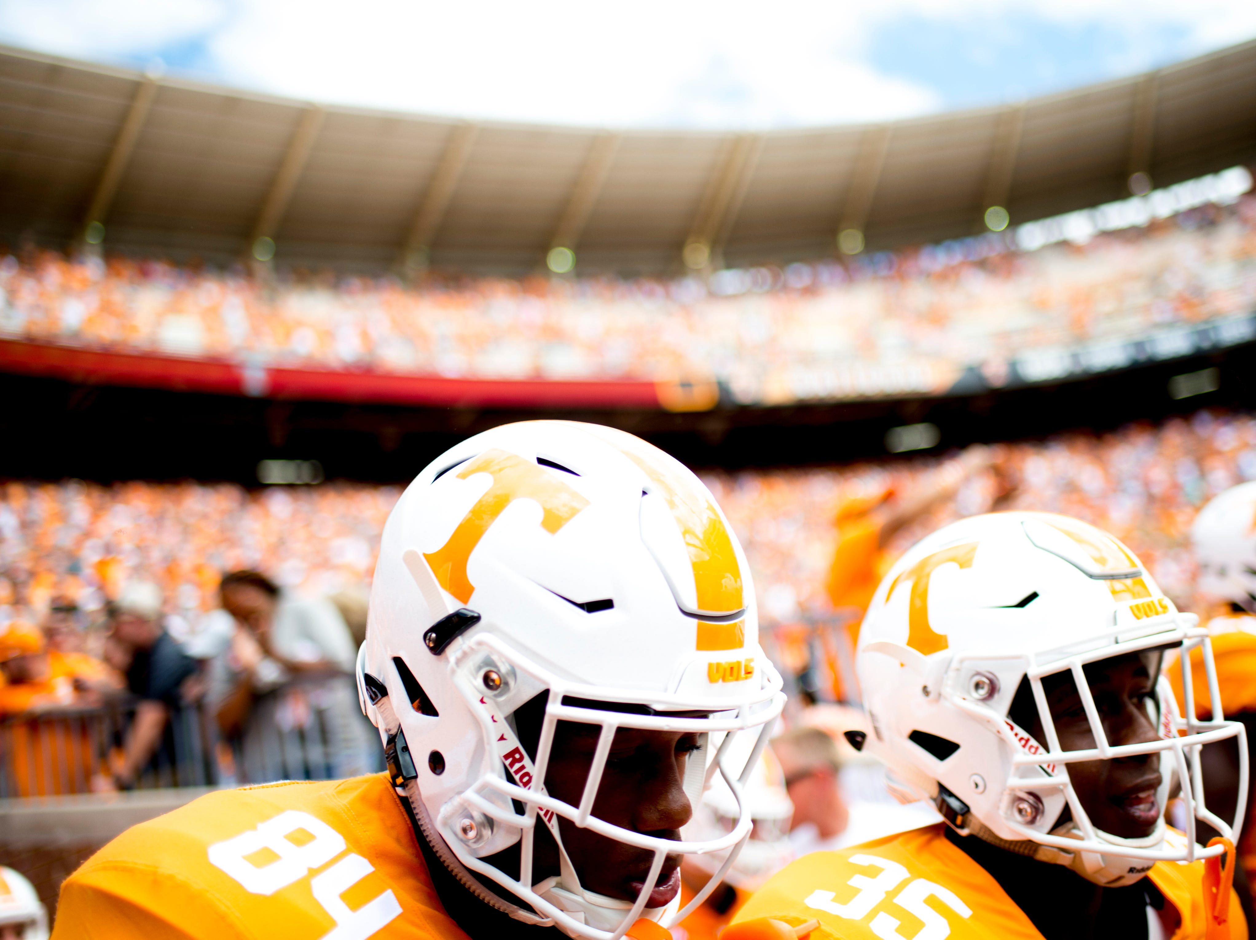Tennessee wide receiver Josh Palmer (84) runs on the field during a game between Tennessee and UTEP at Neyland Stadium in Knoxville, Tennessee on Saturday, September 15, 2018.