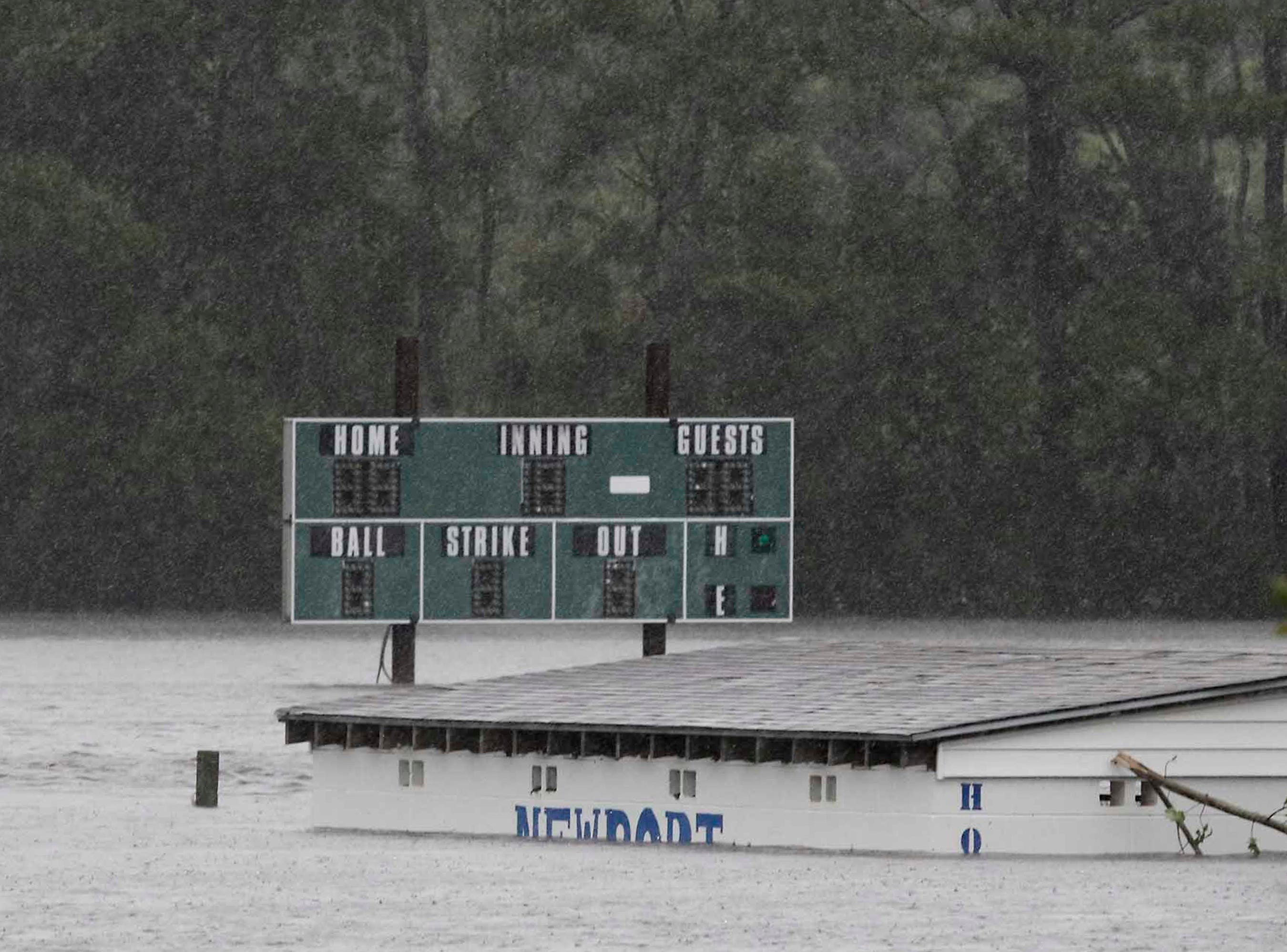 A baseball field on Mill Creek Road is filled with floodwaters after Hurricane Florence hit Newport N.C., Saturday, Sept. 15, 2018.