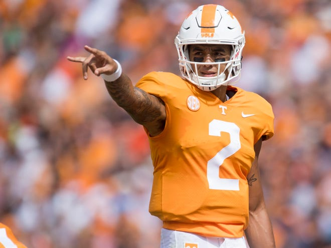 Tennessee quarterback Jarrett Guarantano (2) during the game against UTEP on Saturday, September 15, 2018.