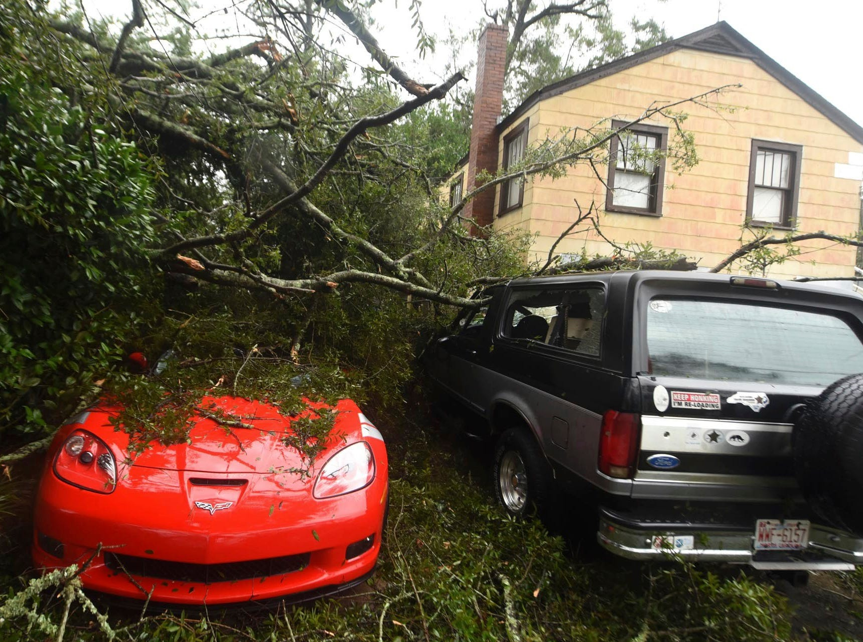 A fallen tree from Florence, now a tropical storm, covers several cars in Wilmington, N.C., Saturday, Sept.15, 2018.