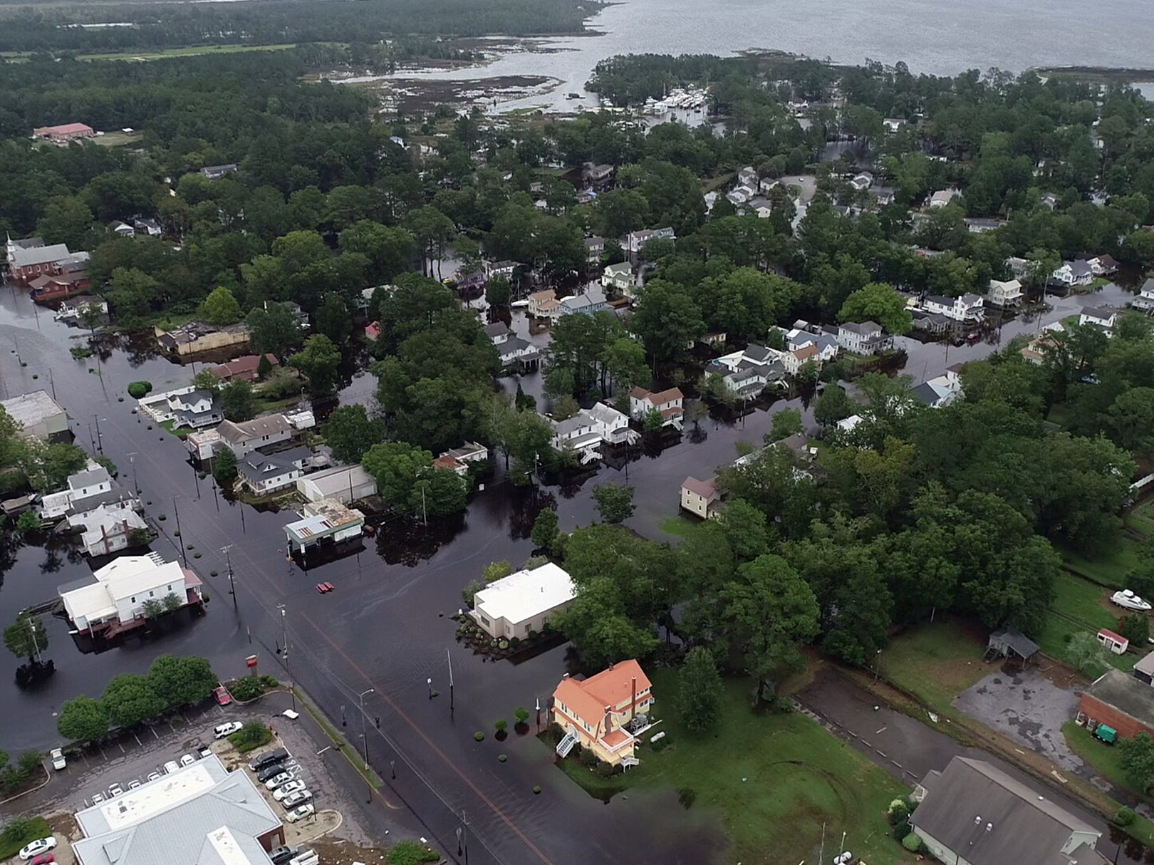 September 15, 2018; Belhaven, NC, USA; Drone photos of local flooding in Belhaven, North Carolina on Saturday, September 15, 2018.
