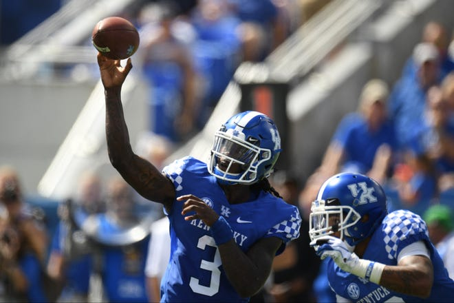 UK QB Terry Wilson throws the ball during the University of Kentucky football game against Murray State at Kroger Field in Lexington, Kentucky on Saturday, September 15, 2018.