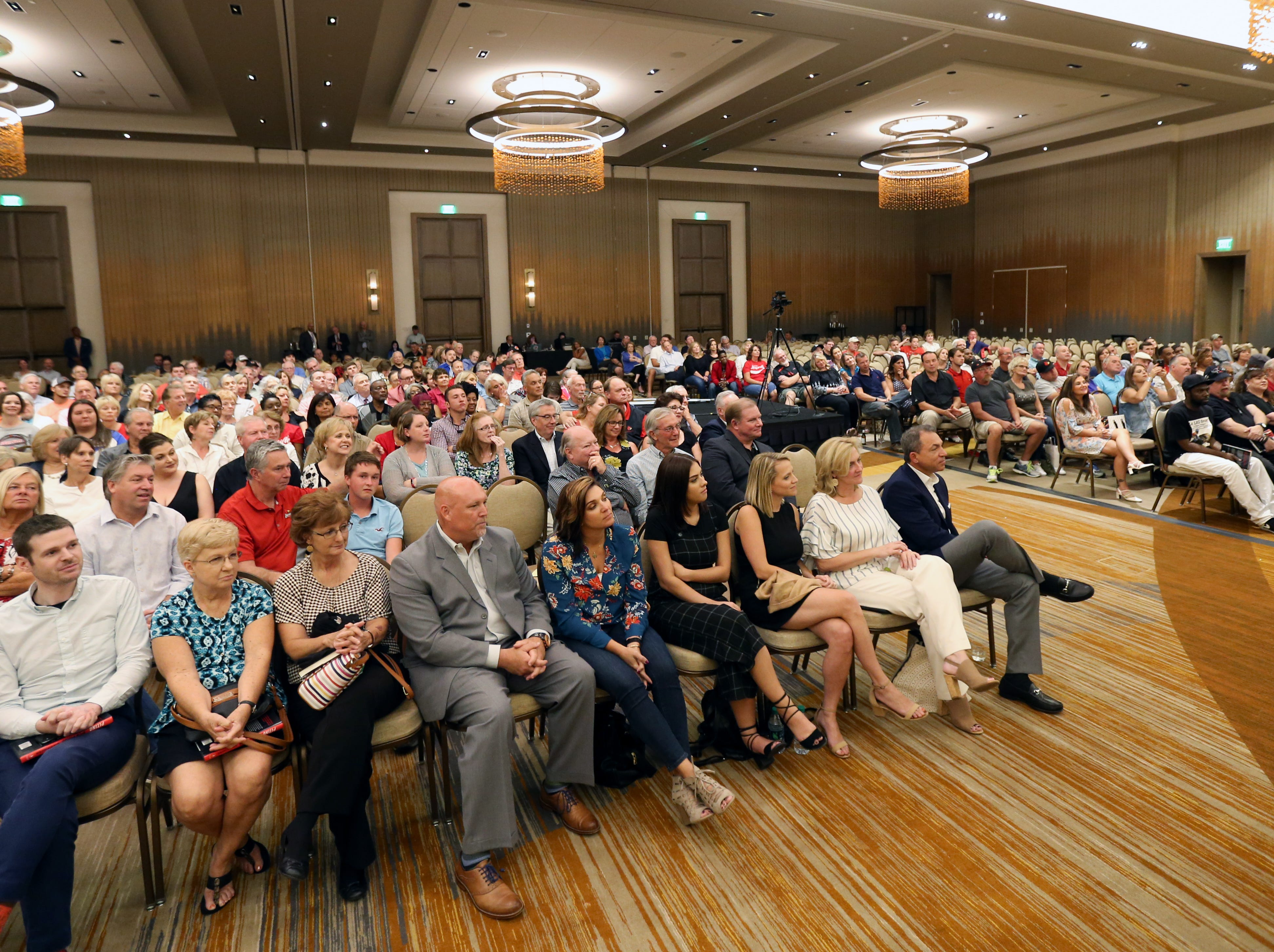 The audience listens as Rick Pitino talks with Courier Journal's Jeff Greer at the Omni Hotel on Friday afternoon after a book signing in Louisville, Kentucky. Sept. 14, 2018