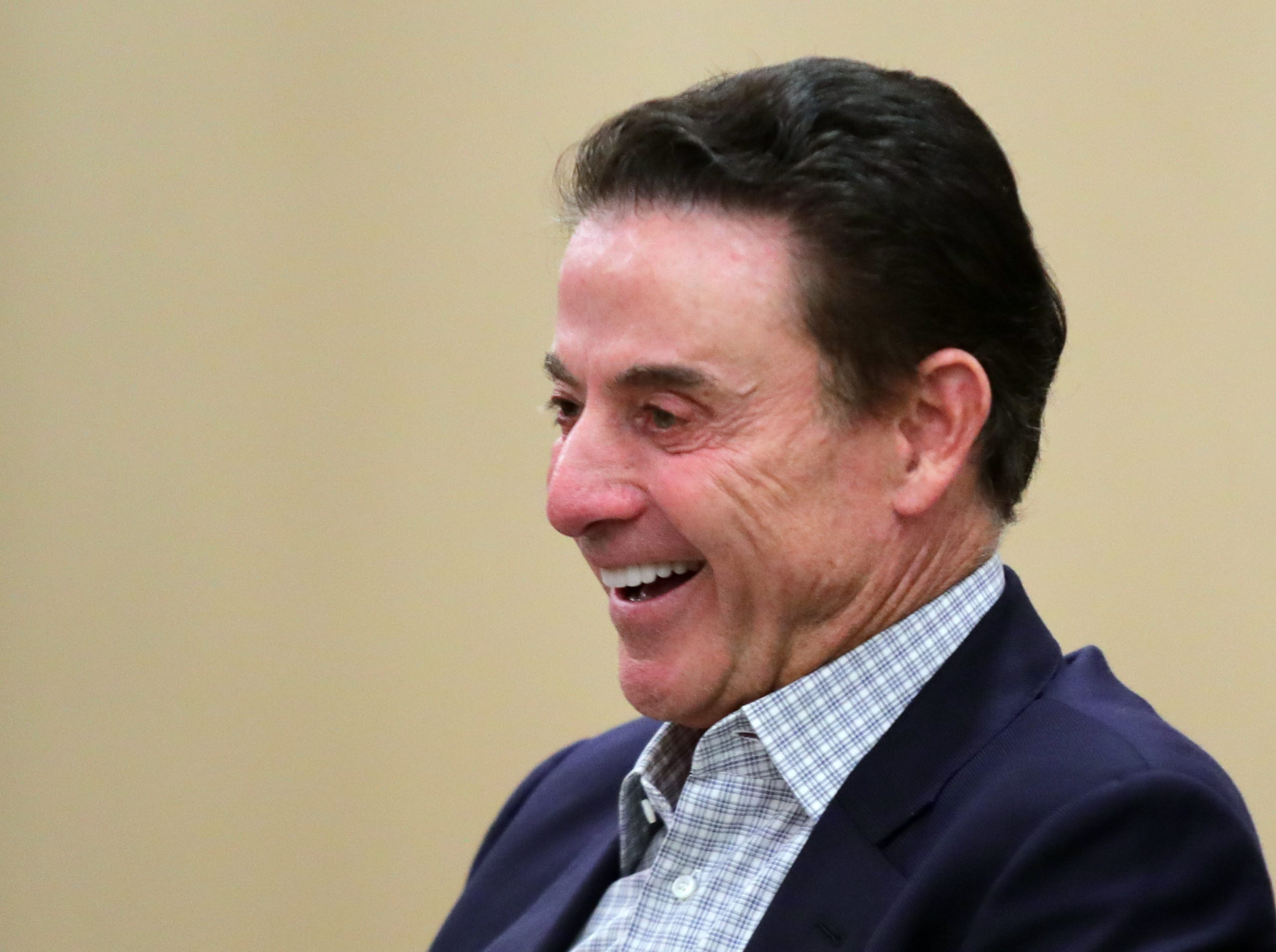 Rick Pitino talks with Courier Journal's Jeff Greer at the Omni Hotel on Friday afternoon after a book signing in Louisville, Kentucky.Sept. 14, 2018