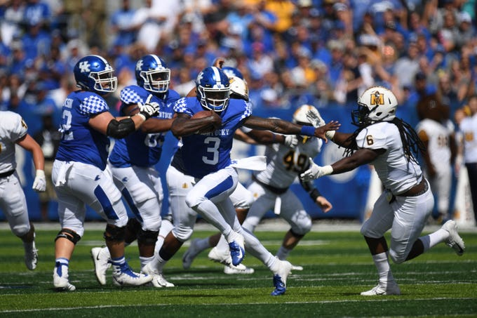 UK QB Terry Wilson runs for a touchdown during the University of Kentucky football game against Murray State at Kroger Field in Lexington, Kentucky on Saturday, September 15, 2018.