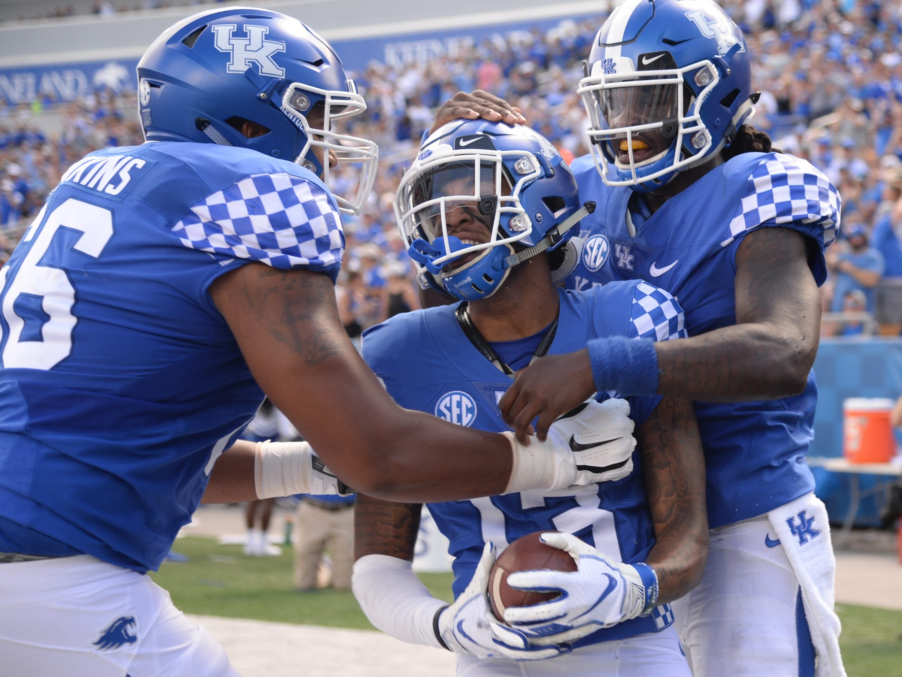 UK wide receiver Zy'Aire Hughes celebrates a touchdown run during the University of Kentucky football game against Murray State at Kroger Field in Lexington, Kentucky, on Saturday, Sept. 15, 2018.