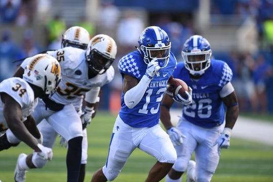 Zy'Aire Hughes scores a touchdown vs. Murray State.