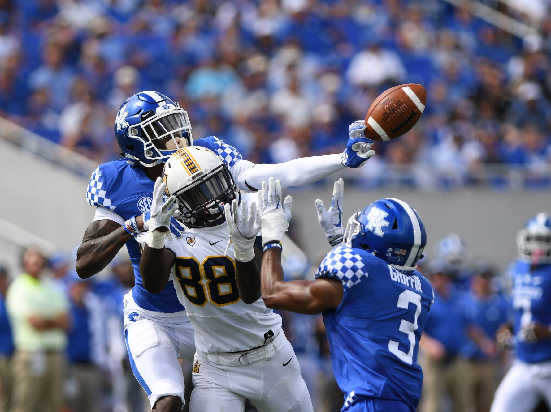 UK CB Chris Westry breaks up a pass but is called for pass interference during the University of Kentucky football game against Murray State at Kroger Field in Lexington, Kentucky on Saturday, September 15, 2018.