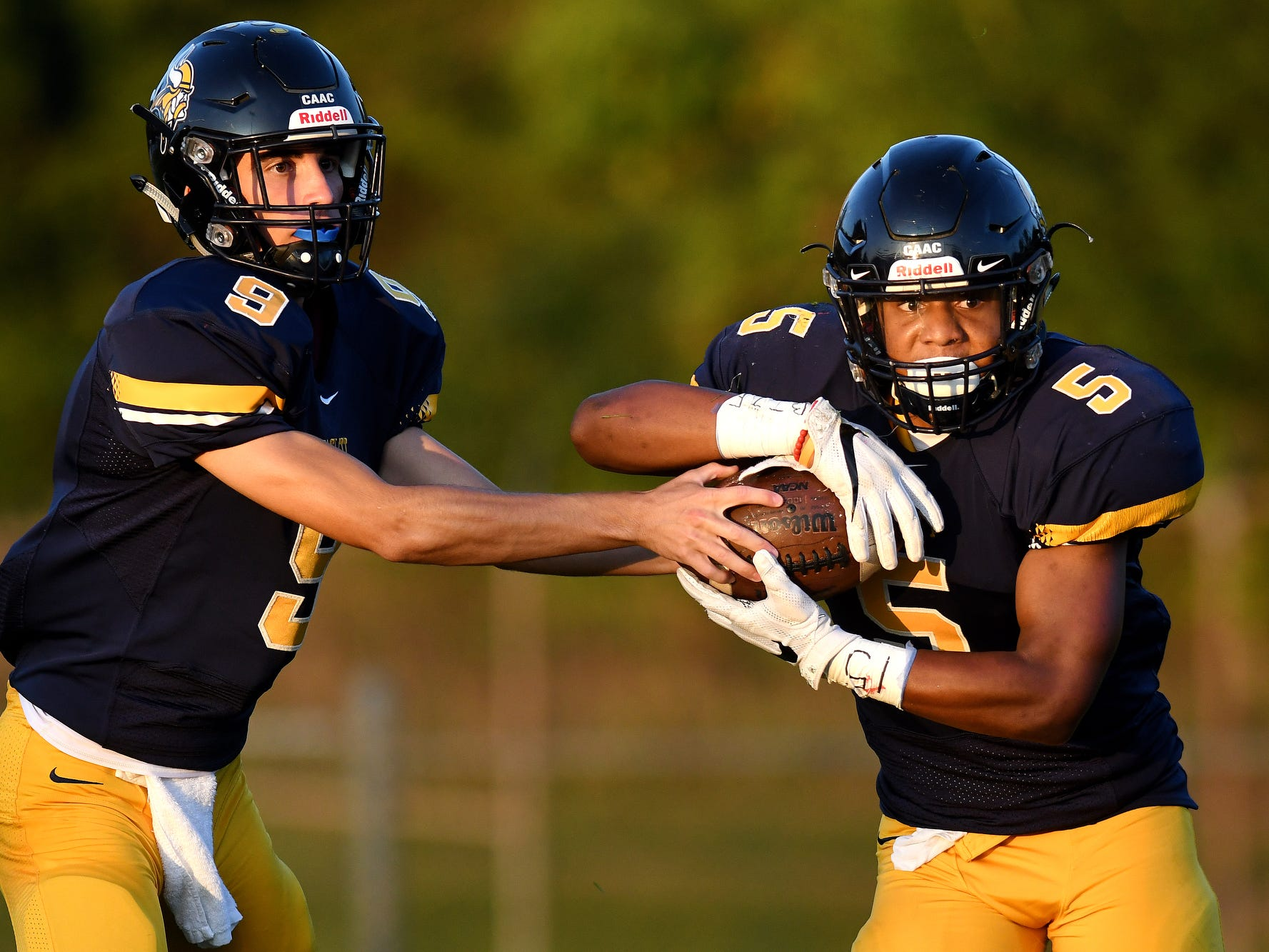 Haslett's Benjamin Brittain, right, takes a handoff from quarterback Mitchell Mowid during the second quarter on Friday, Sept. 14, 2018, at Haslett High School.