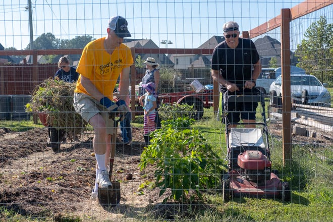 Volunteers at the Epihpany Community Garden clear old plants, till soil, and mow grass  on Saturday, Sept. 15, 2018, as part of MIFA's 50th birthday celebration.