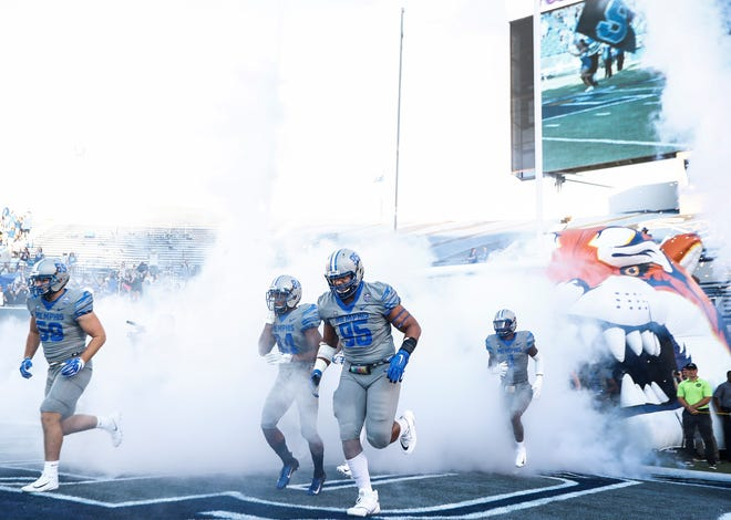 University of Memphis' take the field as they take on Georgia State University in Memphis, Tenn., Friday, September 14, 2018.