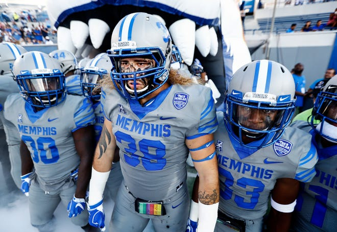 University of Memphis defender Jonathan Wilson (middle) prepares to take the field with his team as they take on Georgia State University in Memphis, Tenn., Friday, September 14, 2018.