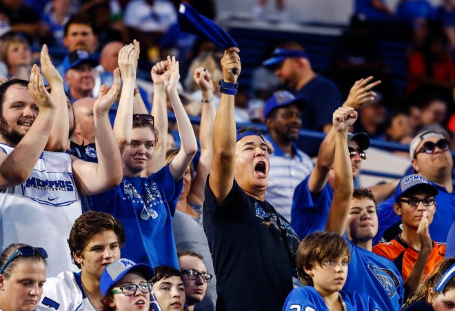 Memphis fans celebrate during the game against Georgia State on Friday night.
