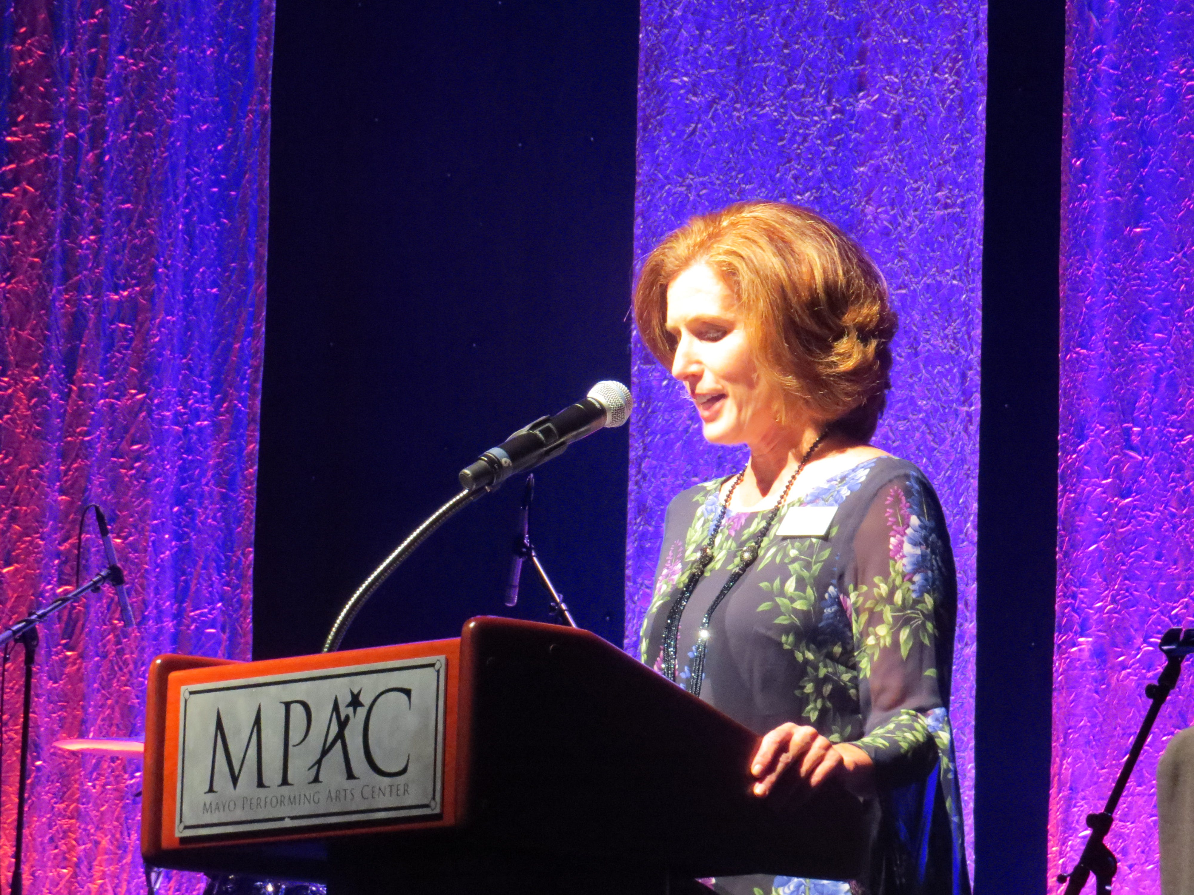 Opening night of the 2018-19 season at the Mayo Performing Arts Center in Morristown: MPAC President-CEO Allison Larena welcomes the audience.