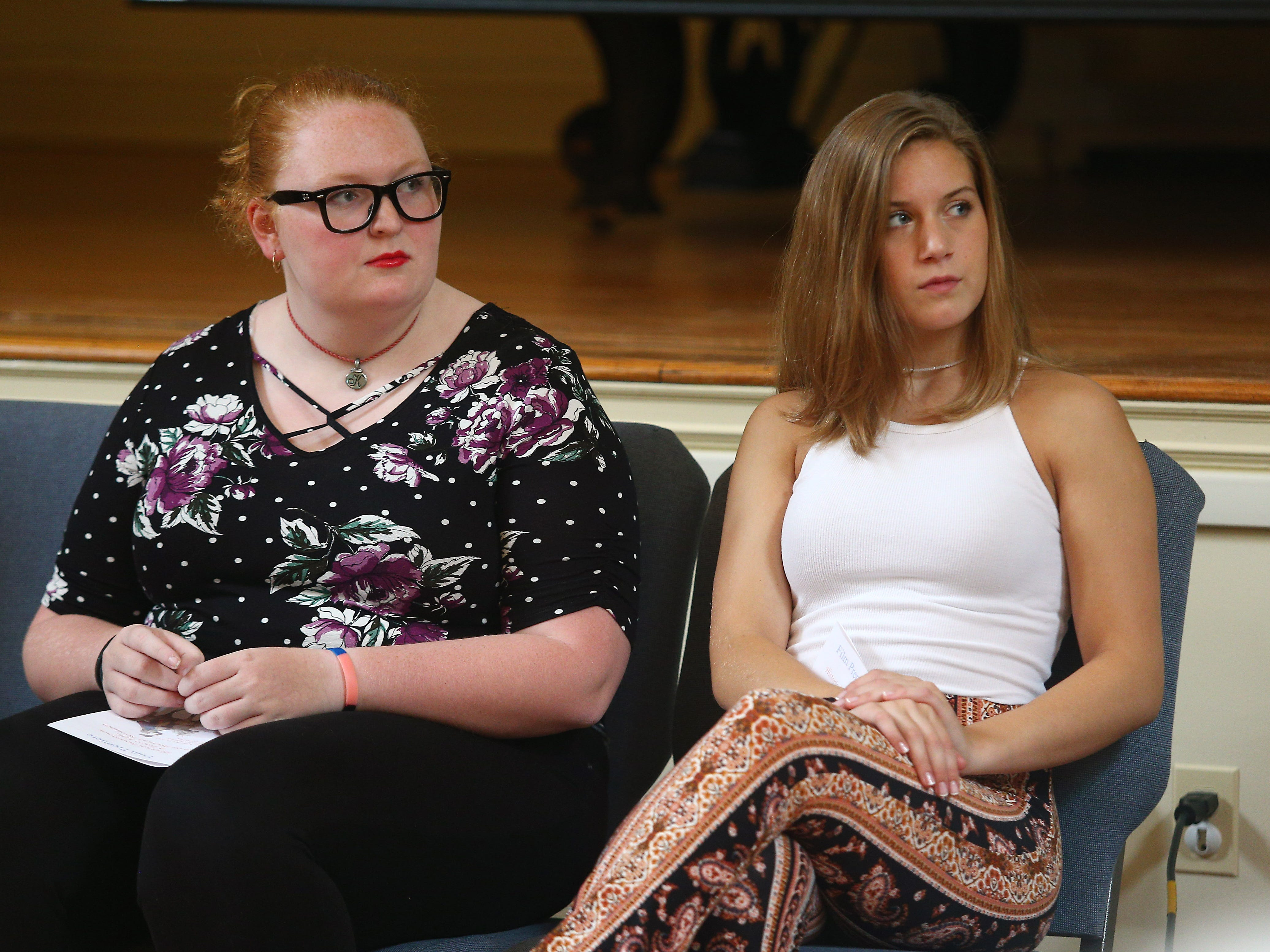 Morristown High School seniors Katie Rosa, l,  and Kylee Strasser produced a film about historic Morristown and accept the George Washington Prize for Creative Excellence at Washington's Headquarters. September 15, 2018, Morristown, NJ