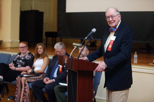 Judge Kenneth MacKenzie introduces film cast and producers as Morristown High School seniors Katie Rosa and Kylee Strasser accept the George Washington Prize for Creative Excellence at Washington's Headquarters. The two produced a film about historic Morristown. September 15, 2018, Morristown, NJ