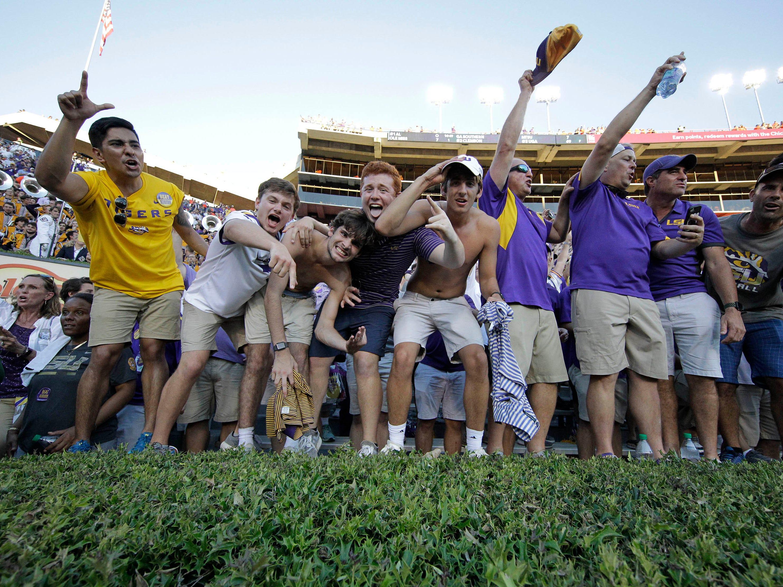 Sep 15, 2018; Auburn, AL, USA; LSU Tigers fans celebrate after LSU beat the Auburn Tigers 22-21 at Jordan-Hare Stadium. Mandatory Credit: John Reed-USA TODAY Sports