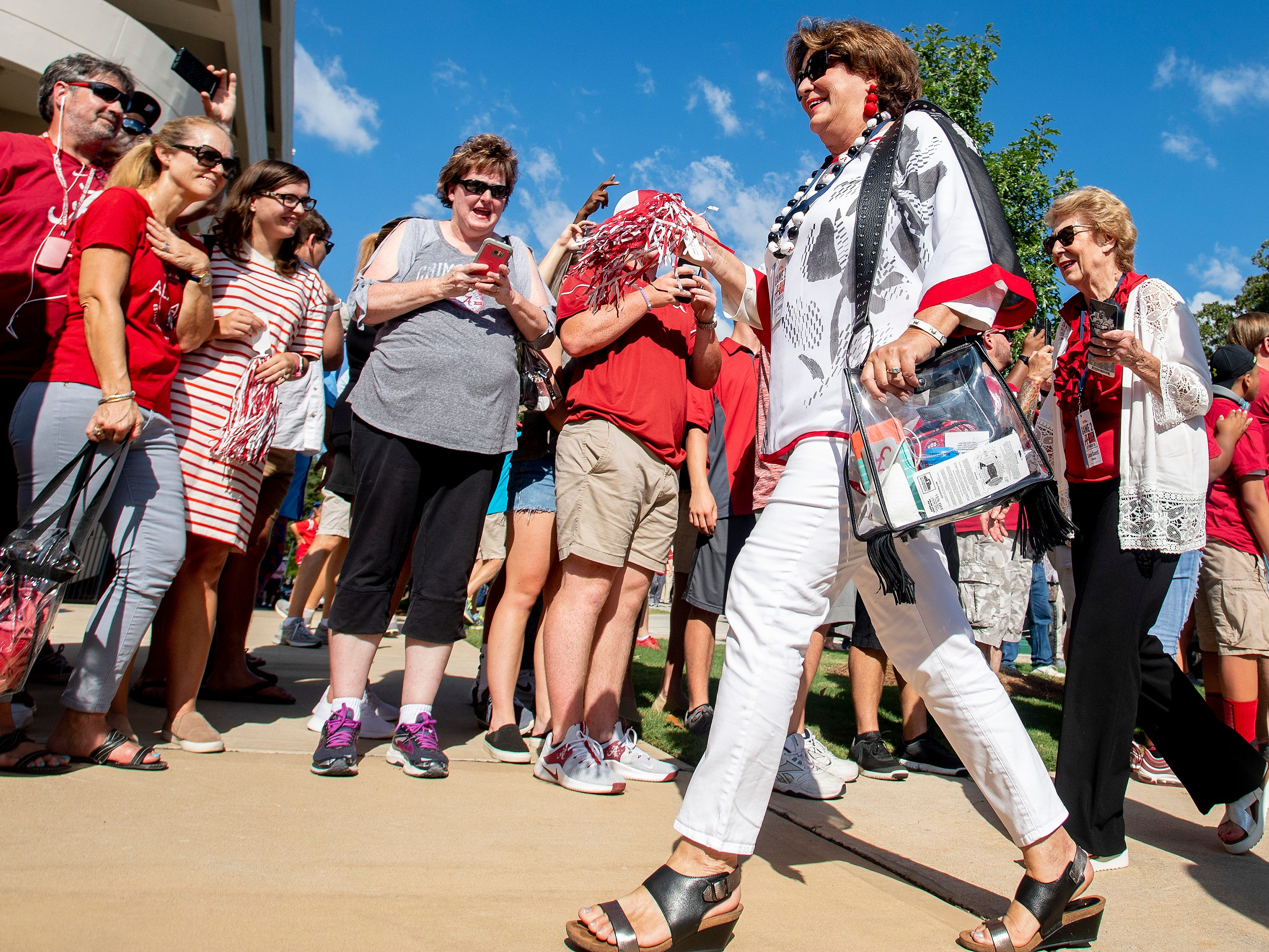Alabama head coach Nick Saban' wife Terry Saban arrives with the Alabama football team on the Ole Miss campus in Oxford, Ms., on Saturday September 15, 2018.