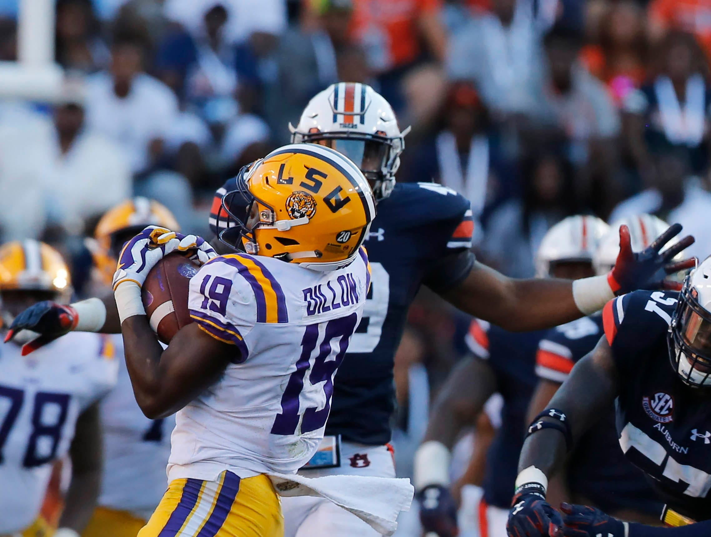 Sep 15, 2018; Auburn, AL, USA; LSU Tigers receiver Derrick Dillon (19) catches a pass over Auburn Tigers linebacker Darrell Williams (48) during the fourth quarter at Jordan-Hare Stadium. Mandatory Credit: John Reed-USA TODAY Sports