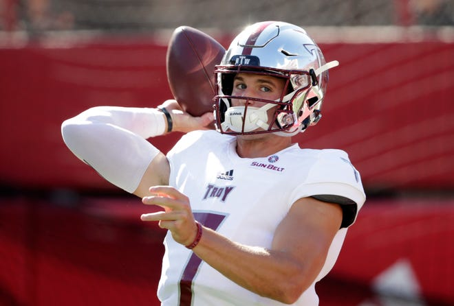 Troy quarterback Kaleb Barker (7) warms up before an NCAA college football game against Nebraska in Lincoln, Neb., Saturday, Sept. 15, 2018. (AP Photo/Nati Harnik)
