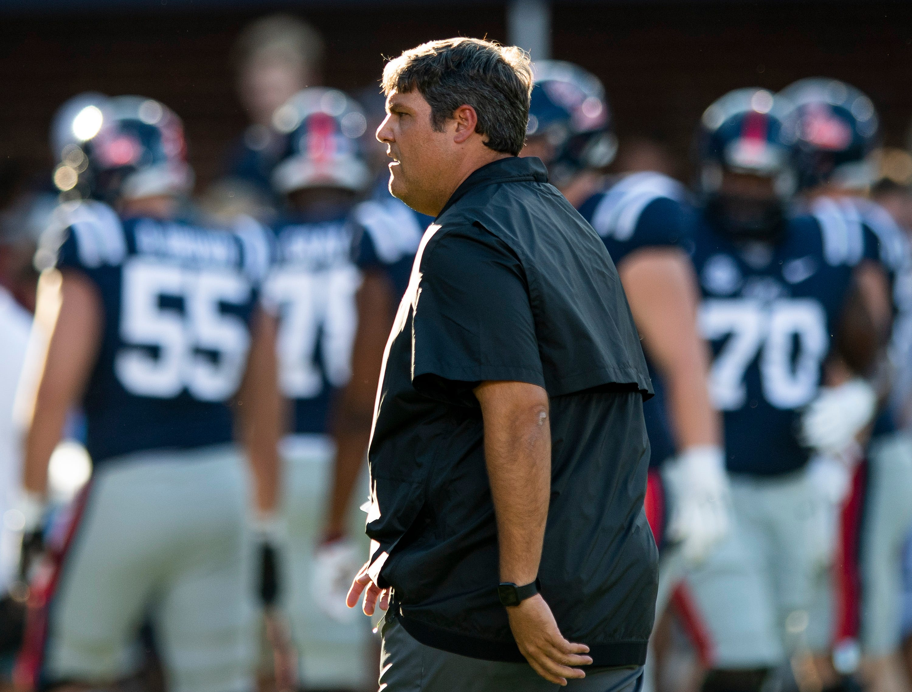 Ole Miss head coach Matt Luke during warm ups before the Ole Miss game in Oxford, Ms., on Saturday September 15, 2018.