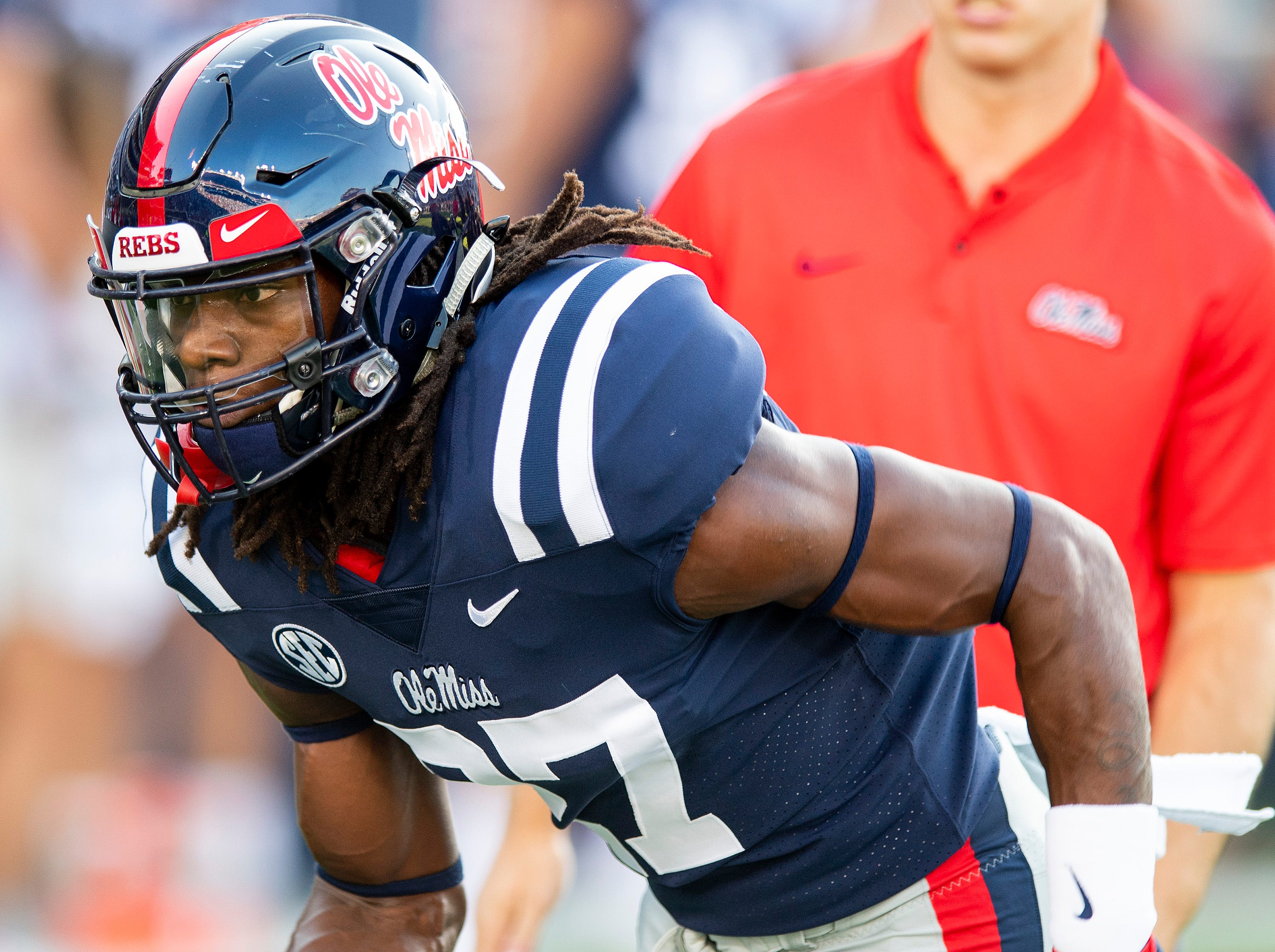 Ole Miss linebacker Kevontae' Ruggs (27) during warm ups in Oxford, Ms., on Saturday September 15, 2018.