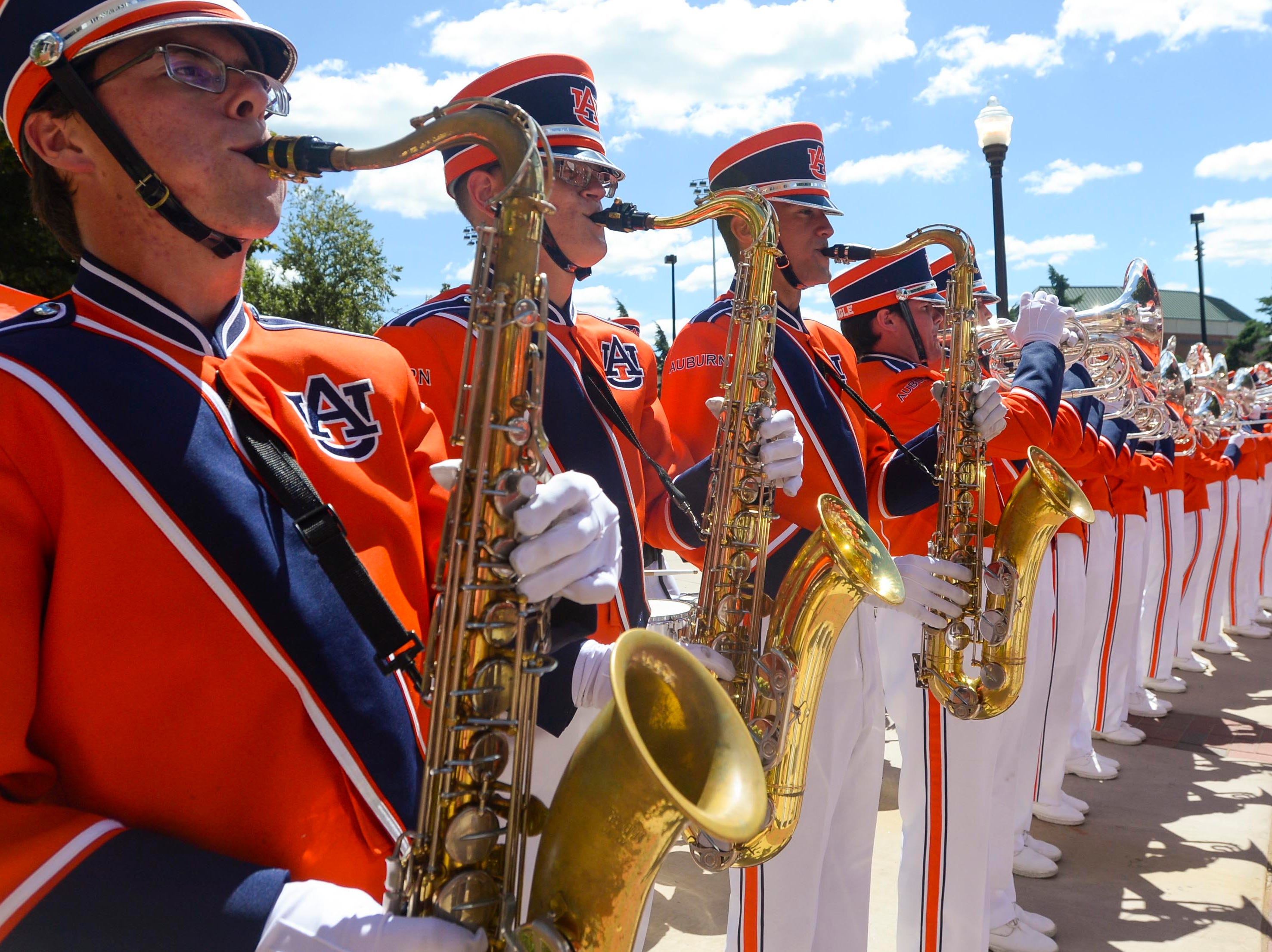 Sep 15, 2018; Auburn, AL, USA;  Auburn Tigers band performs before the game against the LSU Tigers at Jordan-Hare Stadium. Mandatory Credit: Julie Bennett-USA TODAY Sports