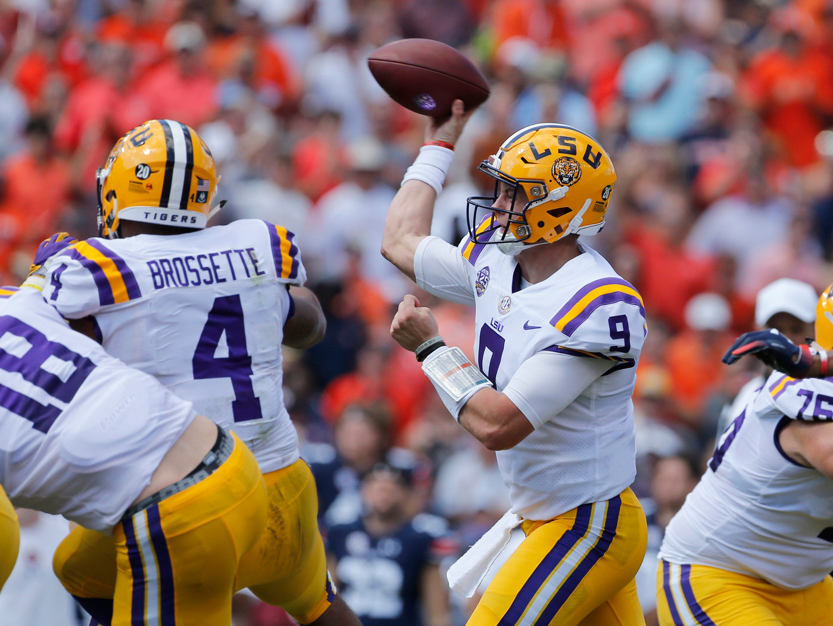 Sep 15, 2018; Auburn, AL, USA; LSU Tigers quarterback Joe Burrow (9) throws a pass against the Auburn Tigers during the first quarter at Jordan-Hare Stadium. Mandatory Credit: John Reed-USA TODAY Sports