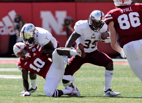 Troy defensive back Tyler Murray (35) intercepts a pass intended for Nebraska wide receiver JD Spielman (10) during the first half of an NCAA college football game in Lincoln, Neb., Saturday, Sept. 15, 2018. (AP Photo/Nati Harnik)