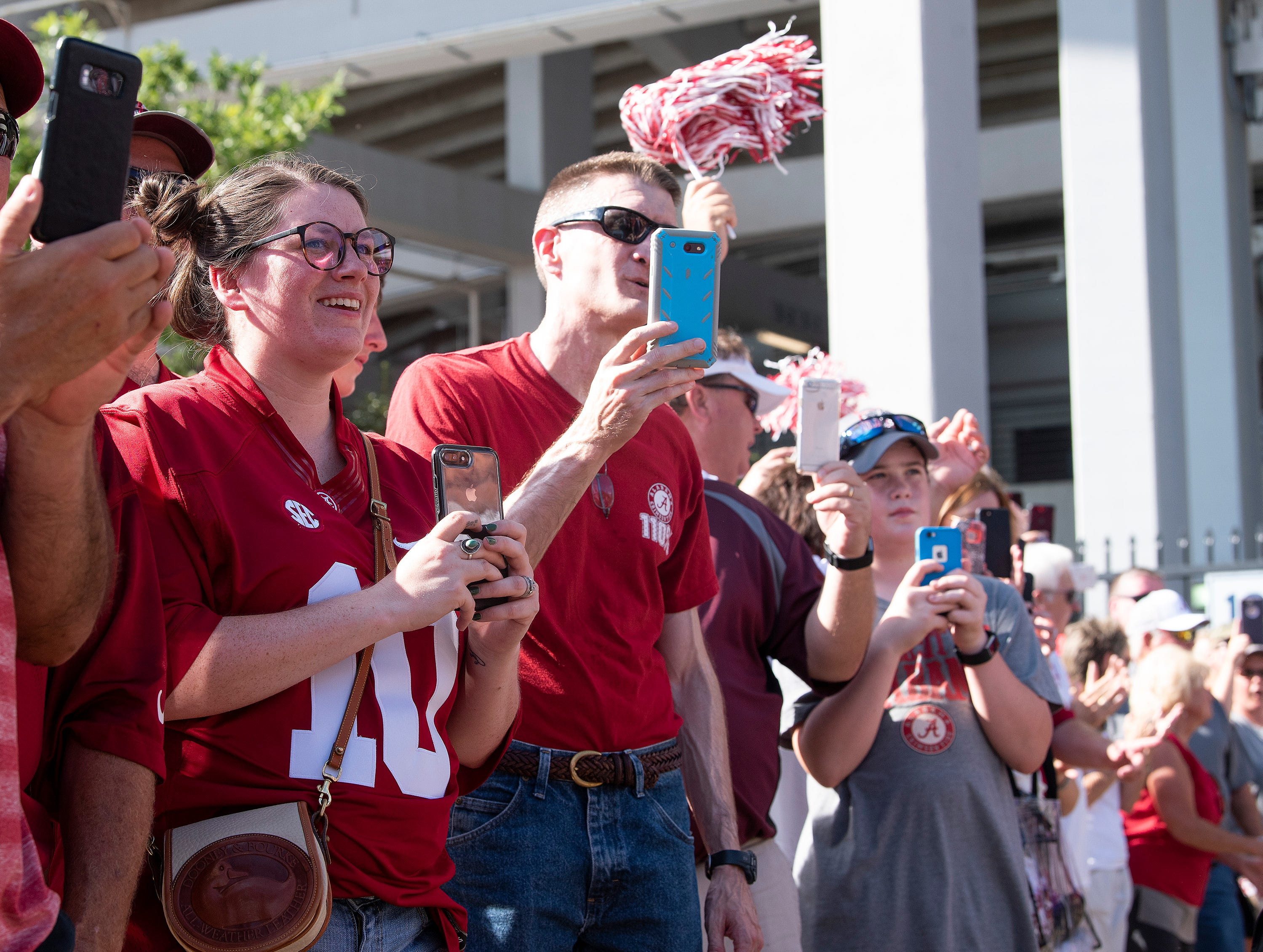Alabama fans line the way as the Alabama football team arrives on the Ole Miss campus in Oxford, Ms., on Saturday September 15, 2018.