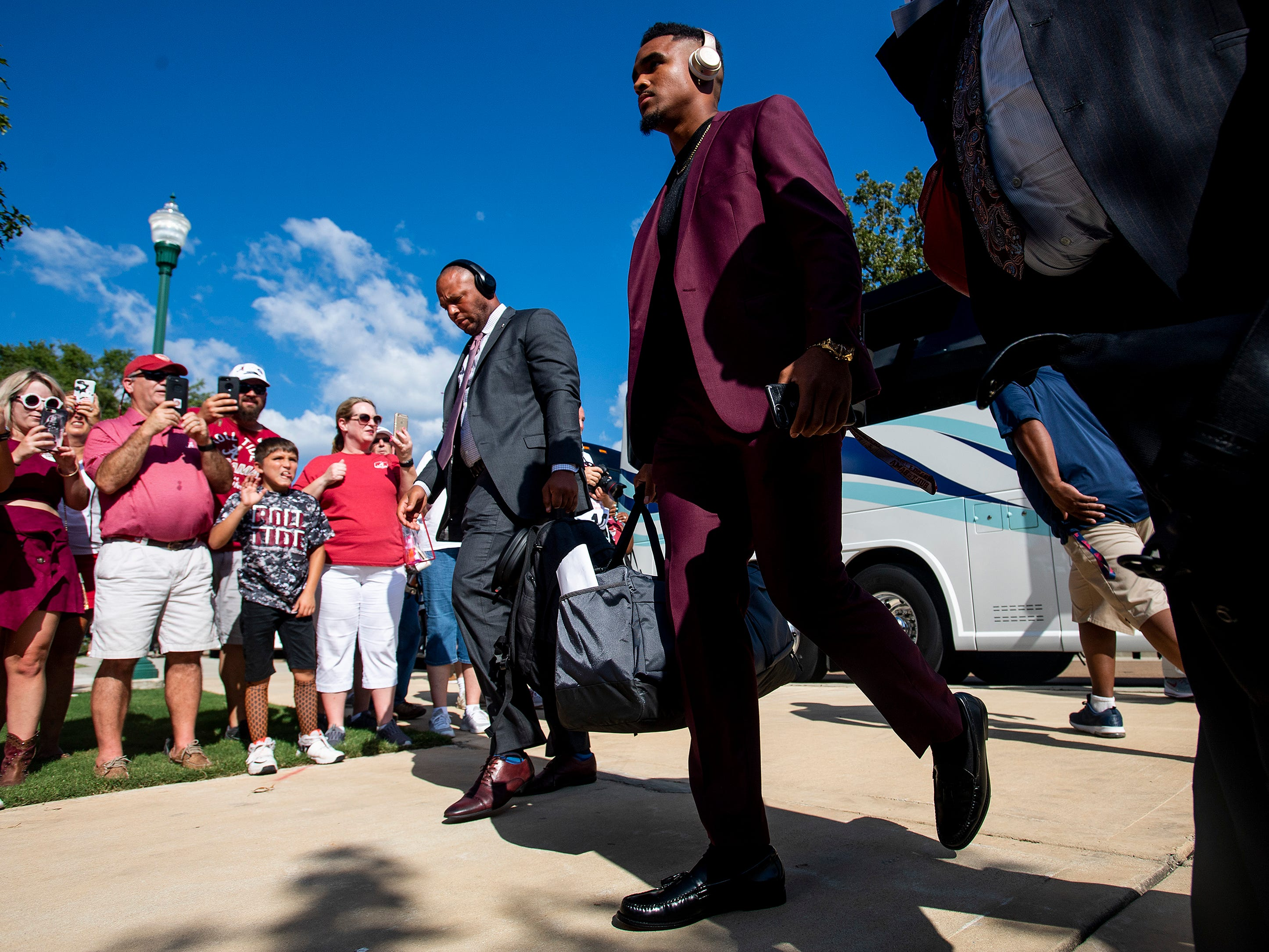 Alabama quarterback Jalen Hurts (2) as the Alabama football team arrives on the Ole Miss campus in Oxford, Ms., on Saturday September 15, 2018.