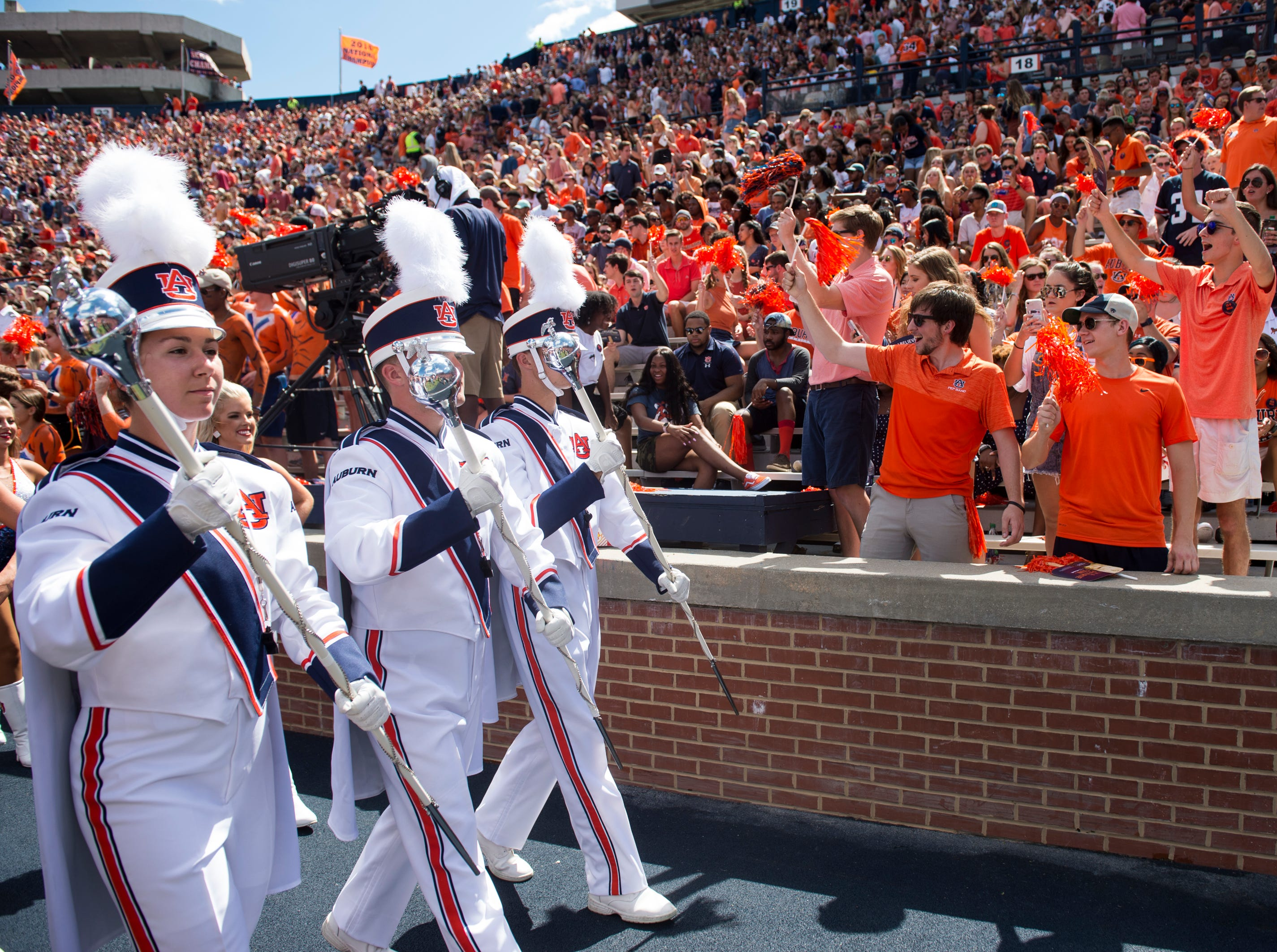 The Auburn Marching Band takes the field before Auburn takes on LSU at Jordan-Hare Stadium in Auburn, Ala., on Saturday, Sept. 15, 2018.