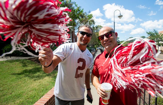 Alabama fans Terry Gilbreath and Ryan Barkley before the Ole Miss vs. Alabama game on the Ole Miss campus in Oxford, Ms., on Saturday September 15, 2018.