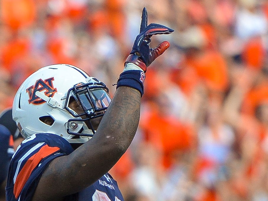 Sep 15, 2018; Auburn, AL, USA; Auburn Tigers running back JaTarvious Whitlow (28) celebrates a touchdown against the LSU Tigers during the second quarter at Jordan-Hare Stadium. Mandatory Credit: Julie Bennett-USA TODAY Sports