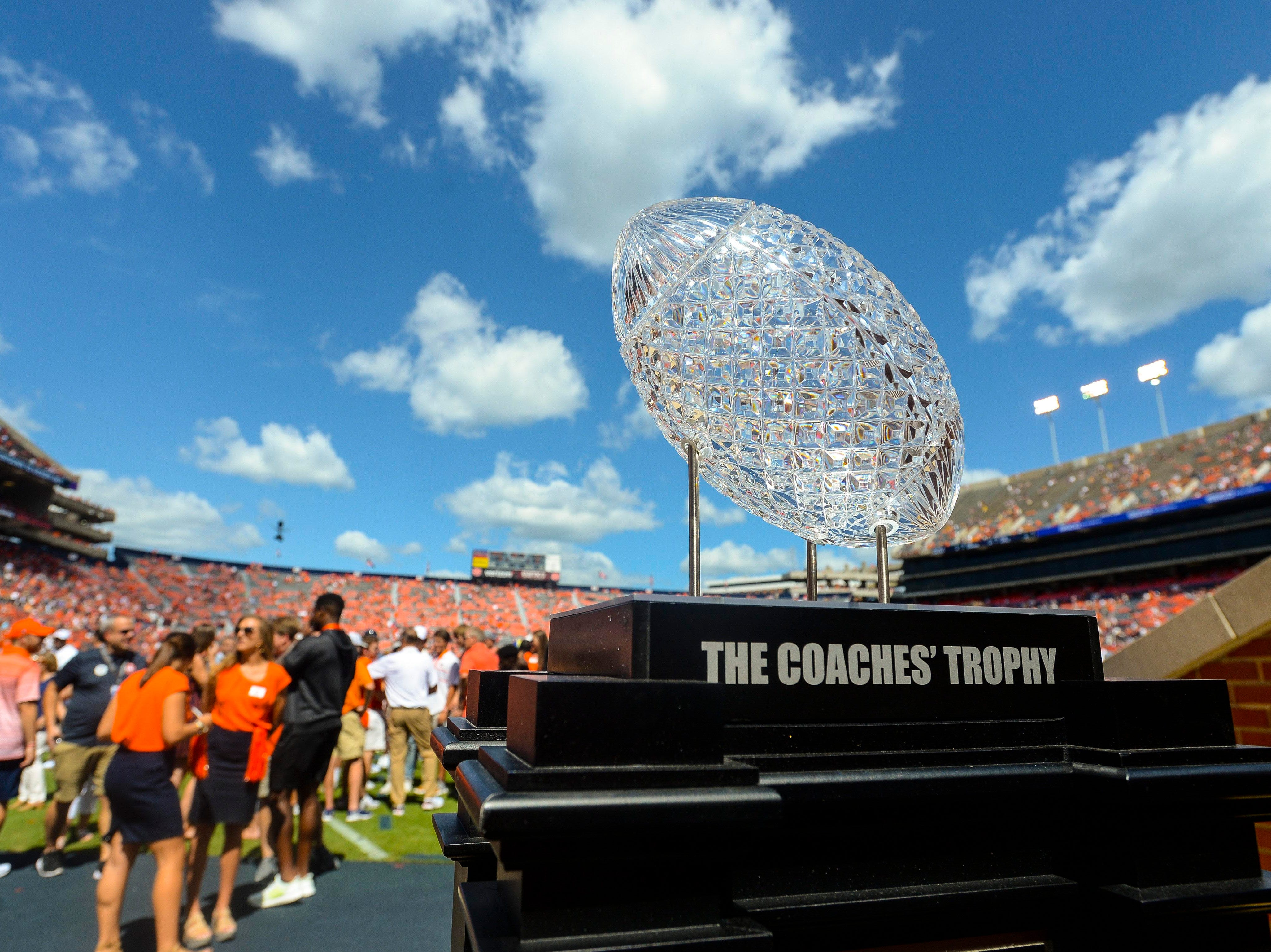 Sep 15, 2018; Auburn, AL, USA; A general view of the Coaches Trophy on display before the game between the LSU Tigers and Auburn Tigers at Jordan-Hare Stadium. Mandatory Credit: Julie Bennett-USA TODAY Sports