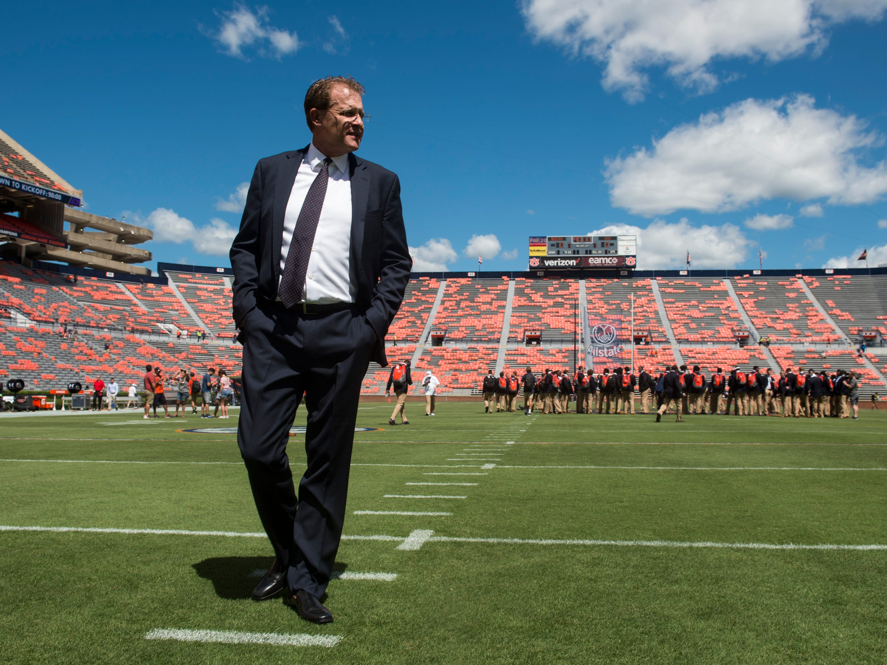 Auburn head coach Gus Malzahn takes the field with his team after the Tiger Walk at Jordan-Hare Stadium in Auburn, Ala., on Saturday, Sept. 15, 2018.