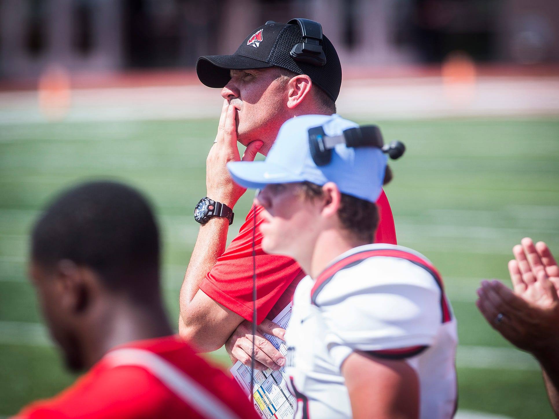 Ball State head coach Mike Neu during the game against Indiana at Memorial Stadium in Bloomington Saturday, Sept. 15, 2018.