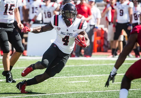 Ball State's Malik Dunner runs against Indiana during their game at Memorial Stadium in Bloomington Saturday, Sept. 15, 2018.