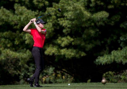 Wapahani's Lauren Hood tees off during the girls golf sectional on Sept. 15 at Crestview Golf Club.