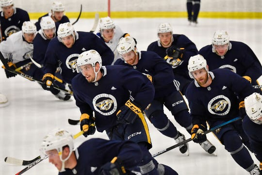 Predators players skate during training camp at Centennial Sportsplex Saturday, Sept. 15, 2018, in Nashville, Tenn.